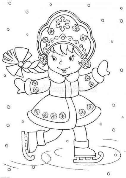Раскраска снегурочка печатать